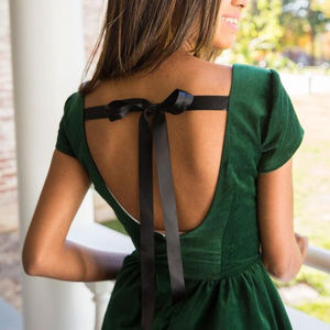Lauren James Sheridan Black Velvet Tie-Back Dress